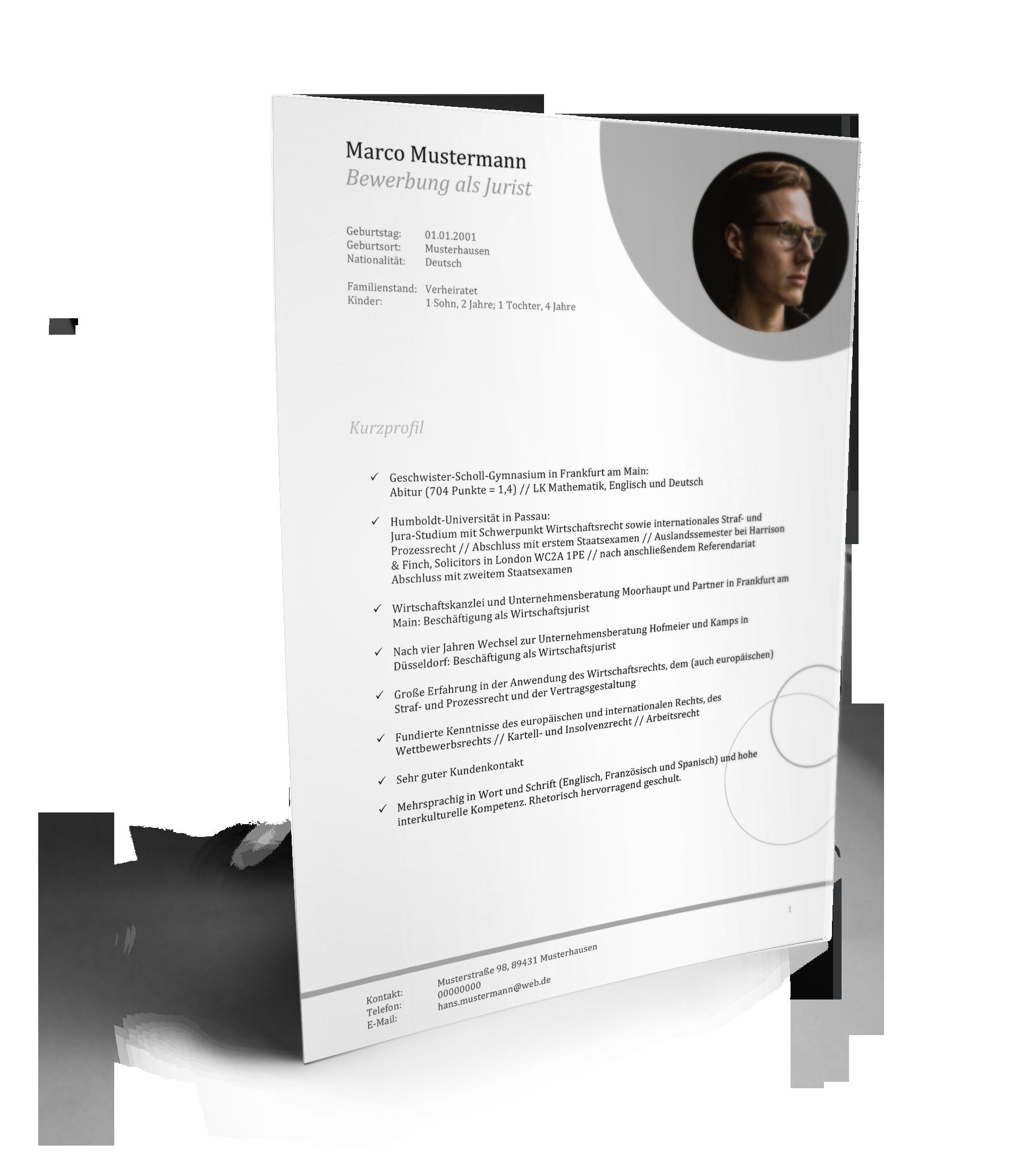 lebenslauf jurist - Lebenslauf Referendariat